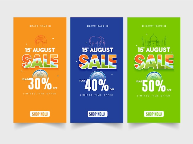 15. august verkaufsvorlage oder vertikales banner-design mit unterschiedlichem rabattangebot