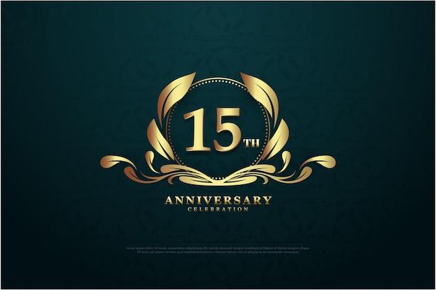 15-jähriges jubiläum mit eindeutigen nummern und logos