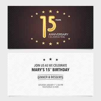 15 jahre jubiläumseinladungsvektorillustration. design-vorlagenelement mit abstraktem hintergrund für die 15. geburtstagskarte, partyeinladung