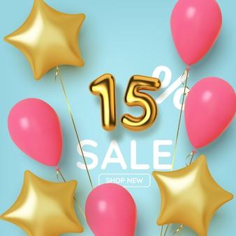 15 rabattaktionsverkauf aus realistischer 3d-goldnummer mit ballons und sternen. zahl in form von goldenen ballons.