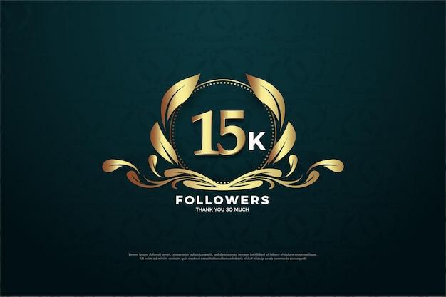 15k follower hintergrund mit einer zahl in der mitte eines eindeutigen symbols.
