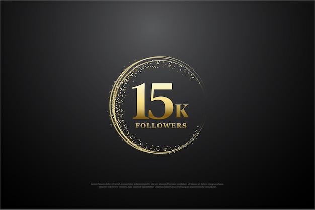 15k follower hintergrund mit goldener illustration in kreisen verteilt.