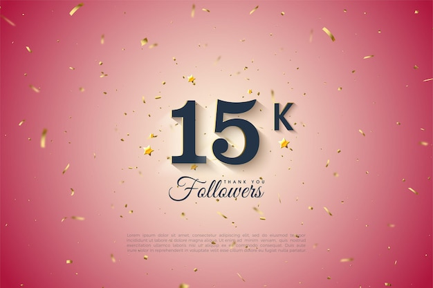 15k follower mit schwarzen zahlen auf einem runden farbverlaufshintergrund.