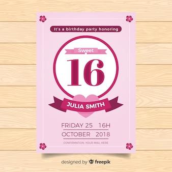 16. geburtstagspartyeinladungskarte