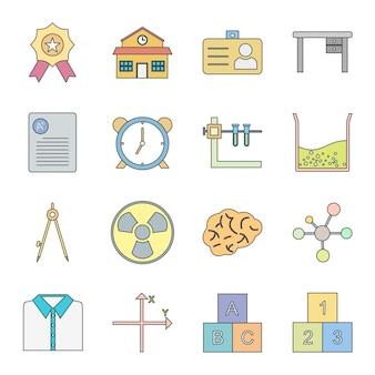 16 icon set bildung für den persönlichen und kommerziellen gebrauch Premium Vektoren