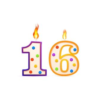 16 jahre jubiläum, 16 nummerförmige geburtstagskerze mit feuer auf weiß