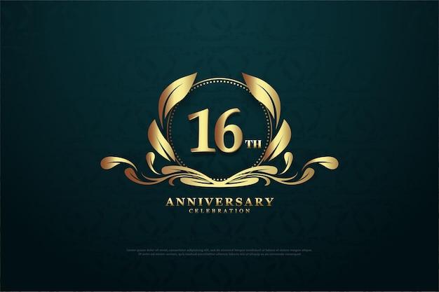 16. jahrestag mit nummer in der mitte eines charmanten symbols