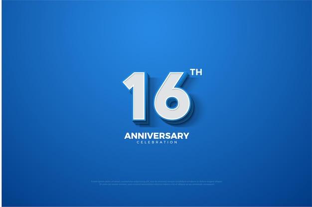 16. jubiläum mit 3d-nummernprägung auf blau