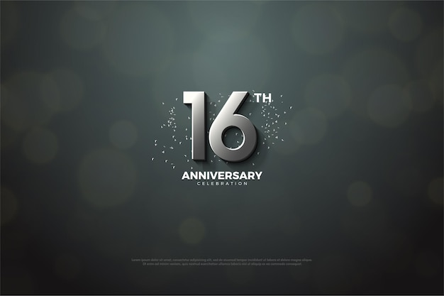 16. jubiläum mit 3d-silberzahl
