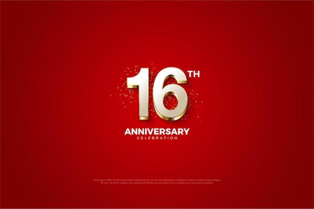 16. jubiläum mit ausgefallener vergoldeter nummer