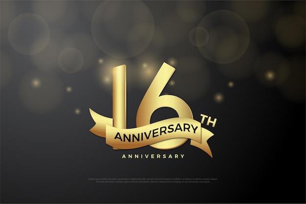 16. jubiläum mit goldener nummer und schleife