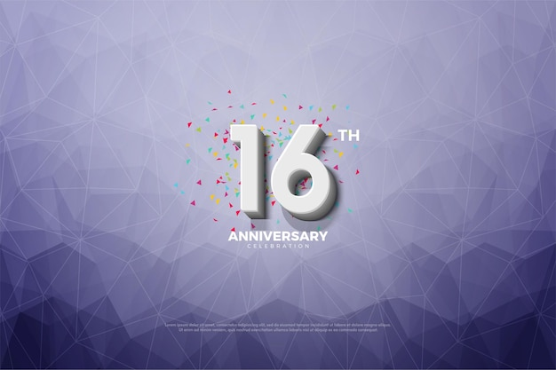16. jubiläum mit kristallpapier-illustration