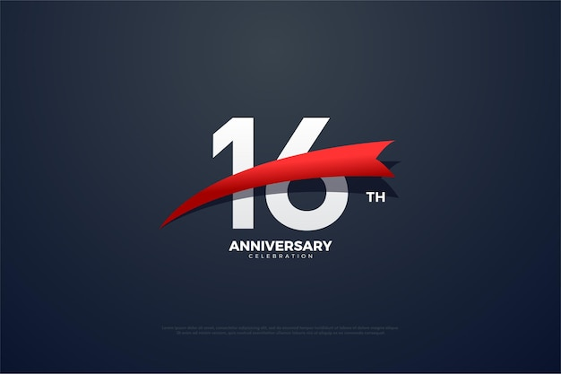 16. jubiläum mit verjüngtem rotem band