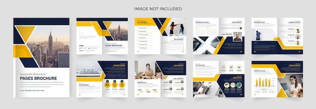 16 seiten design der firmenprofilvorlage mit gelben farbformen, mehrseitiges broschürendesign