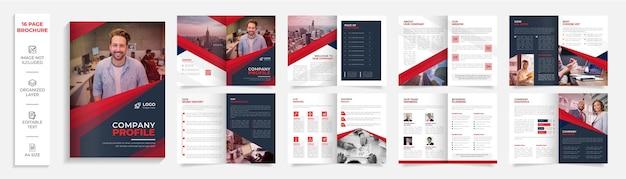 16-seitige moderne professionelle bifold-broschüre des unternehmens firmenprofildesign
