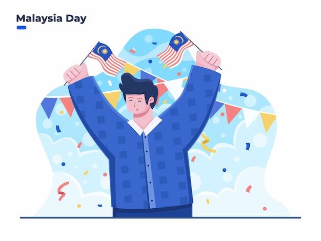 16. september happy malaysia day flacher illustrationsvektor mit leuten, die malaysia fla halten