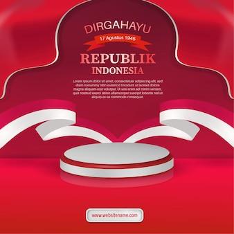 17. august indonesien unabhängigkeitstag grußkarte flyer vorlage mit 3d-podium und bandflagge