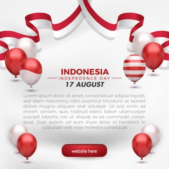 17. august indonesiens unabhängigkeitstag grußkarte social media vorlage flyer weißer hintergrund