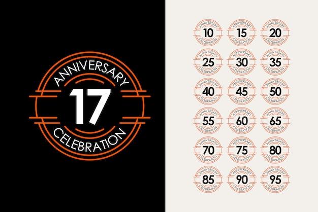 17 jahre jubiläum set feiern elegante vorlage design illustration