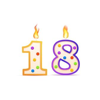 18 jahre jubiläum, 18 nummerförmige geburtstagskerze mit feuer auf weiß