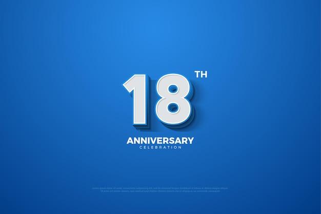 18. jahrestag mit geprägten 3d-zahlen auf blauem hintergrund