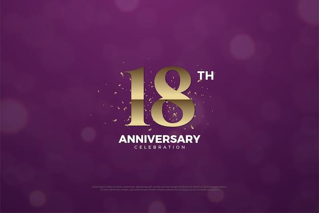 18. jahrestag mit goldenen ziffern auf violettem hintergrund