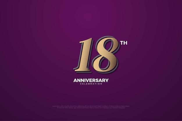 18. jahrestag mit zahlen auf lila hintergrund