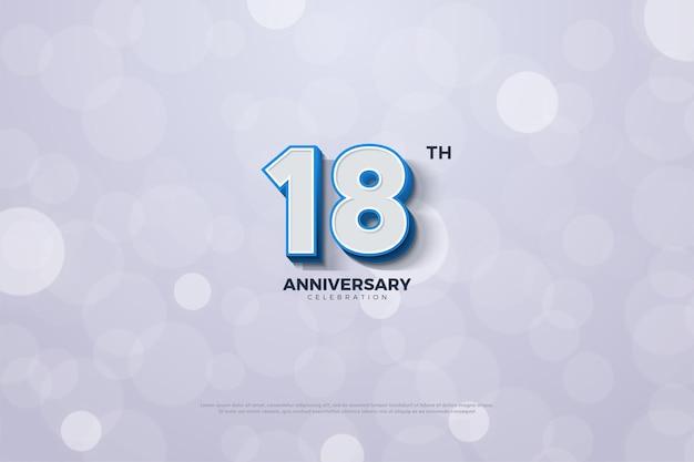 18. jubiläum mit 3d-zahlen mit dunkelblauem rand
