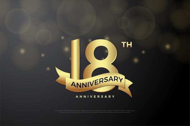 18. jubiläum mit goldenen zahlen und bändern