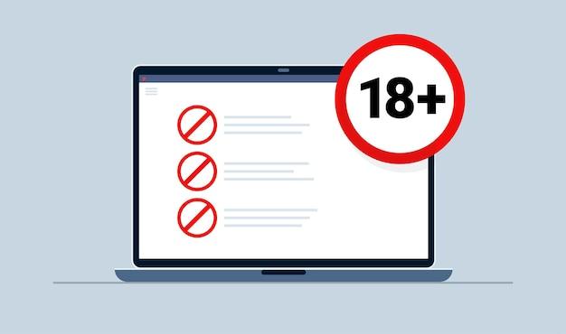 18 plus rundes warnsymbol auf dem laptop mit verbotenem inhalt. achtzehn. inhalt für erwachsene. vektor