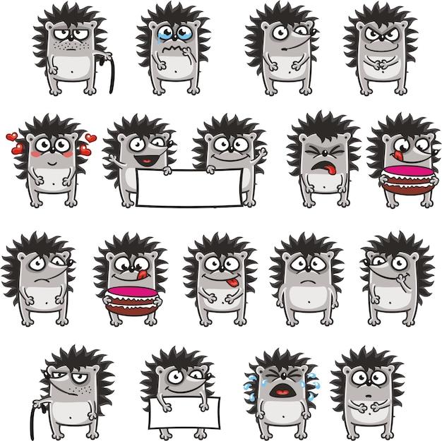 18 smiley-igel, die zum einfachen kopieren und einfügen einzeln gruppiert sind. (3)