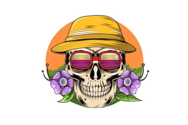 18. sommer mit schönheitsblumen, hut und brillenvektor Premium Vektoren