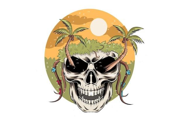 19. sommer-skuul mit schönheitsniederlassungen und kokosnuss-vektor