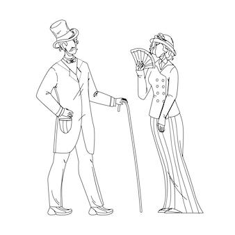 1900 viktorianische menschen dame und gentleman schwarze linie bleistiftzeichnung vektor. viktorianischen stil paar mann mit stock und frau mit fan in retro-kleidung. charaktere elegante vintage kleidung illustration