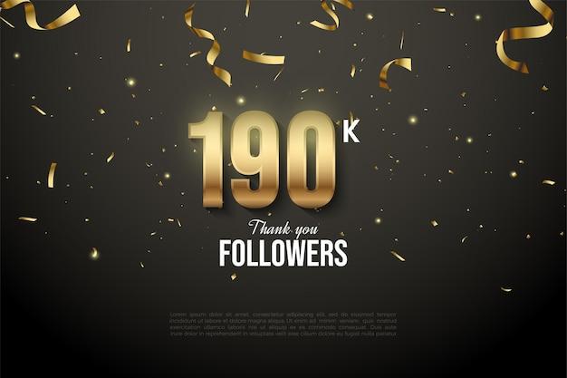 190k follower mit zahlen und goldband-tropfen