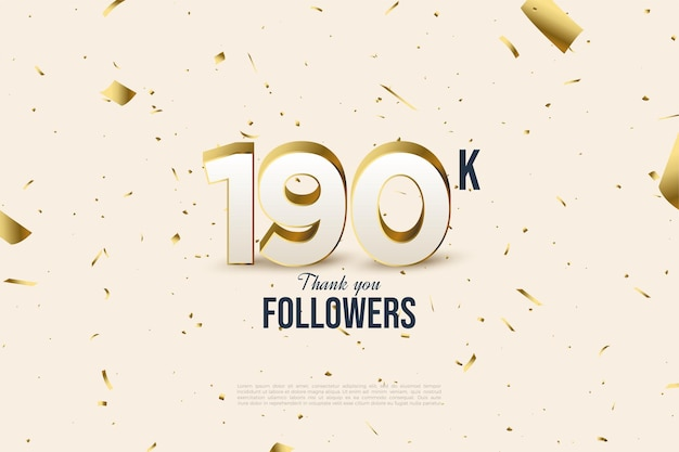 190k follower mit zahlen und goldfolien