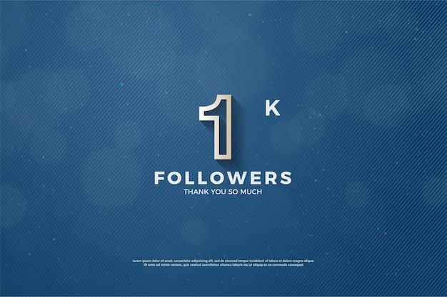 1k follower hintergrund mit fett brauner umrissener nummer.