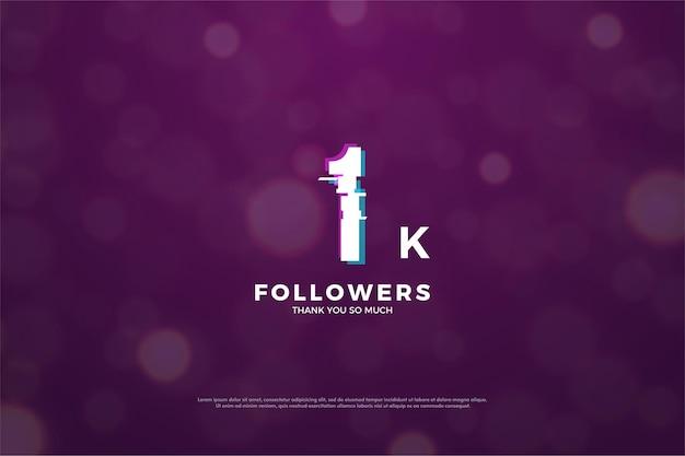 1k follower hintergrund mit friedlicher effektnummer illustration.