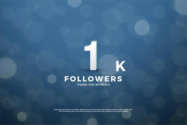 1k follower-hintergrund mit illustriertem hintergrund unter verwendung von dunkelblauem papier mit lichtkreiseffekt.