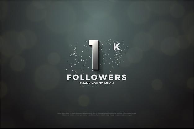 1k follower hintergrund mit silberner nummer und glitzer.