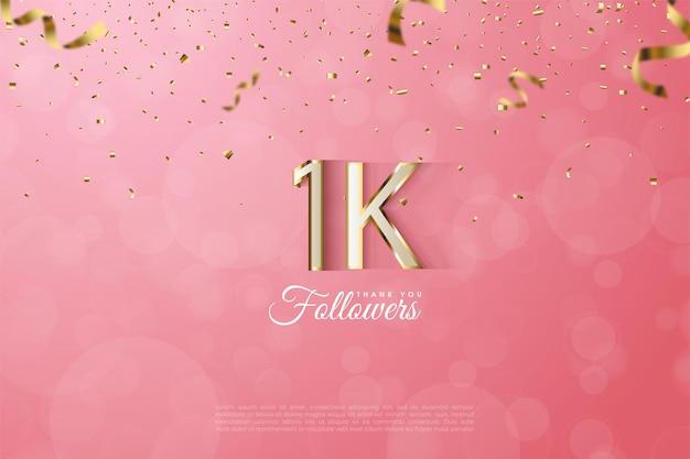 1k follower mit einem sehr luxuriösen goldenen numerischen rand.