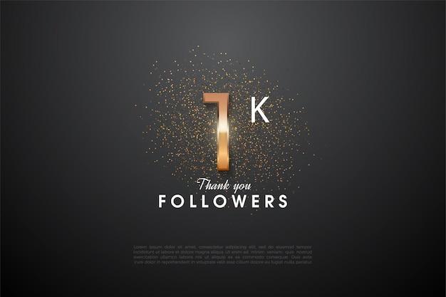1k follower mit einer glänzenden nummer in der mitte und einem glitzer auf der rückseite.