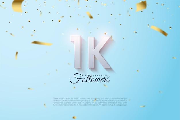 1k follower mit leicht verblasster und schattierter nummer.