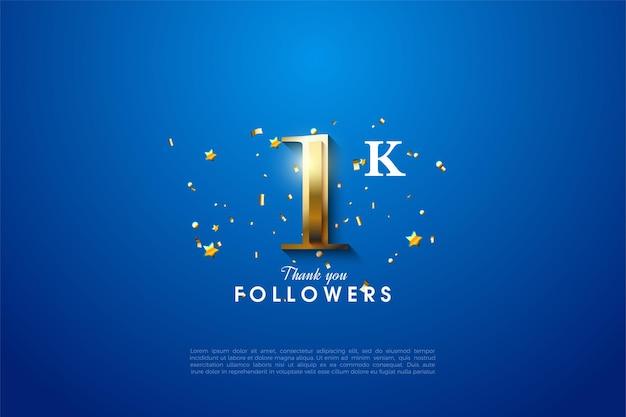 1k follower mit leuchtend goldener nummer