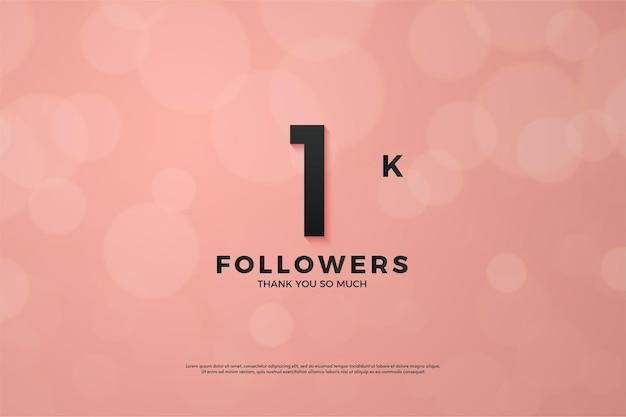 1k follower rosa hintergrund bokeh-effekt.