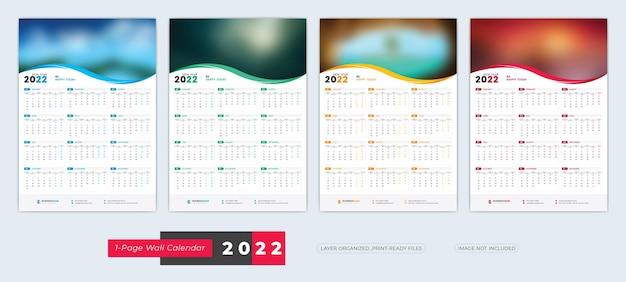 1seiten-wandkalender 2022-vorlage mit 4 farbvariationen-designs