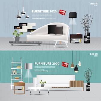 2 banner möbel verkauf werbung flayers illustration