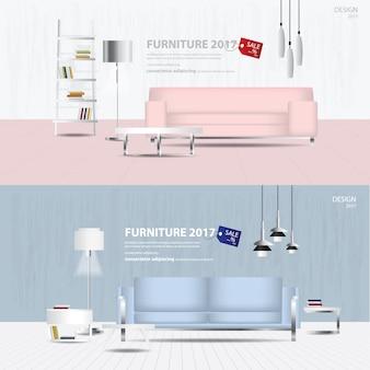 2 fahnen-möbel-verkaufs-design-schablonen-illustration