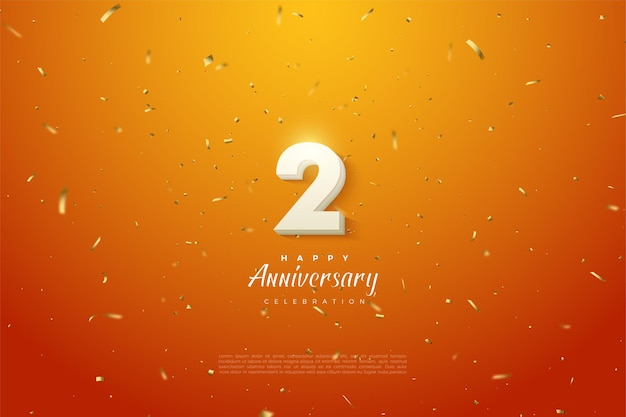 2. jahrestag mit kühner weißer zahlenillustration auf orangefarbenem hintergrund.