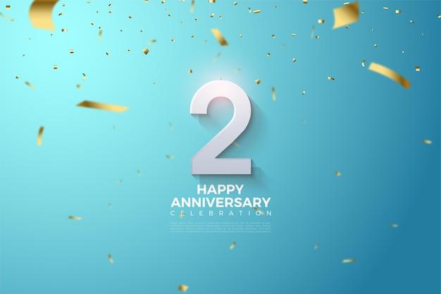 2. jahrestag mit zahlenillustration überschüttet mit goldenen papierausschnitten auf blauem hintergrund. Premium Vektoren